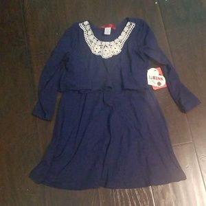 Navy Blue with Lace Top Dress